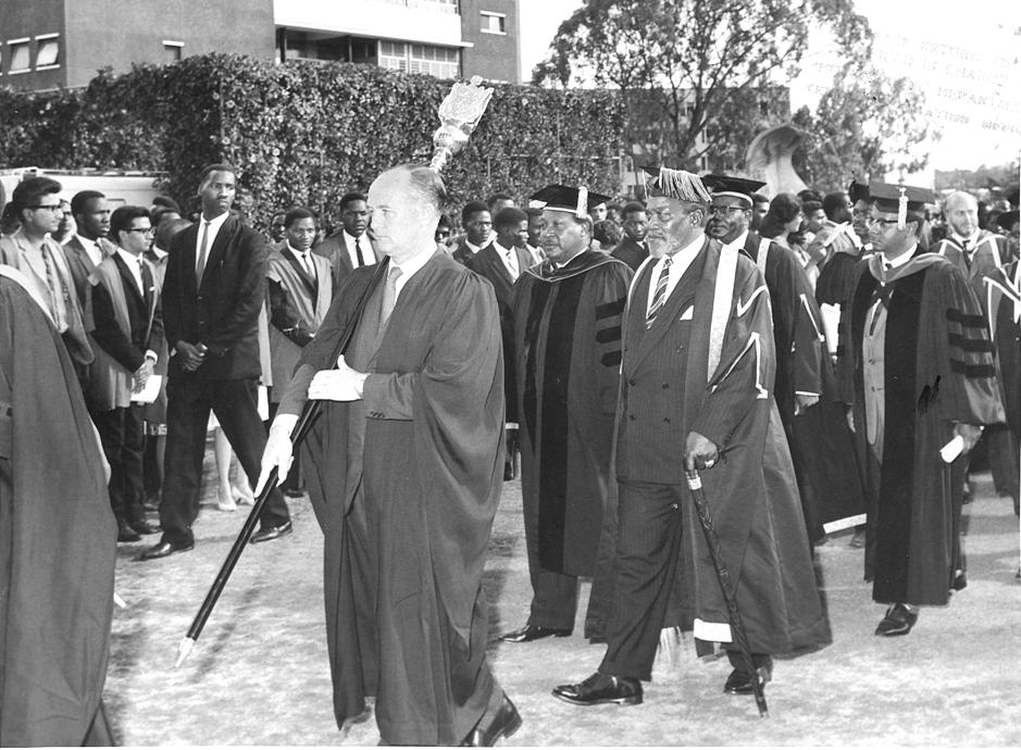 President Jomo Kenyatta at a graduation ceremony at UON (8-Nov-1965)